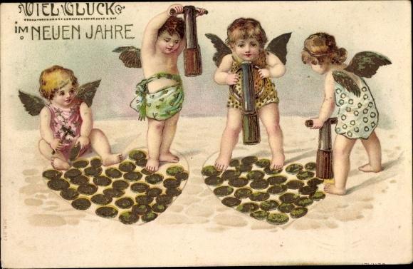 Präge Ak Glückwunsch Neujahr, Engel, Goldmünzen