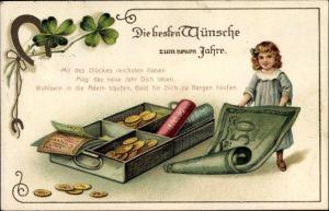 Präge Ak Glückwunsch Neujahr, Geldscheine, Goldmünzen, Kleeblätter, Hufeisen