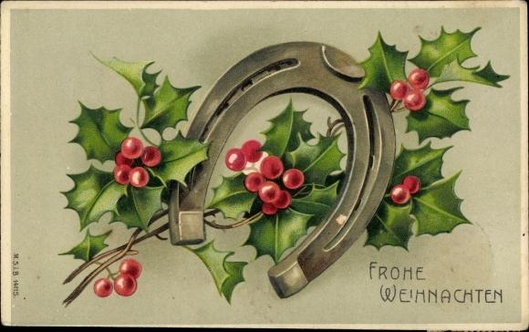Präge Ak Frohe Weihnachten, Hufeisen, Stachelpalme