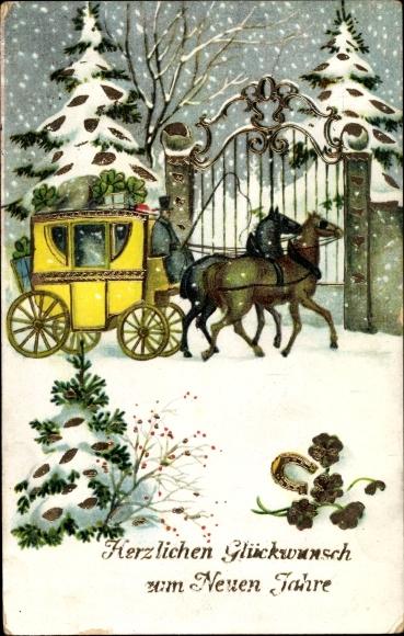 Präge Passepartout Gold Ak Glückwunsch Neujahr, Kutsche, Hufeisen, Kleeblätter, Schneelandschaft