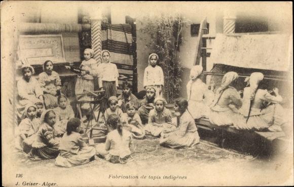 Ak École de Tapis arabes, enfants, Algérie