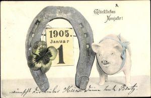 Ak Glückwunsch Neujahr, Hufeisen, Schwein, Kleeblatt, Kalender