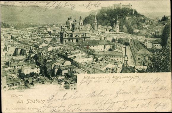 Ak Salzburg in Österreich, Blick vom elektr. Aufzug, Stadtpanorama