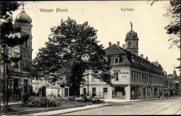 Ak Dresden Nordost Weißer Hirsch, Kurhaus, Geschäfte 0