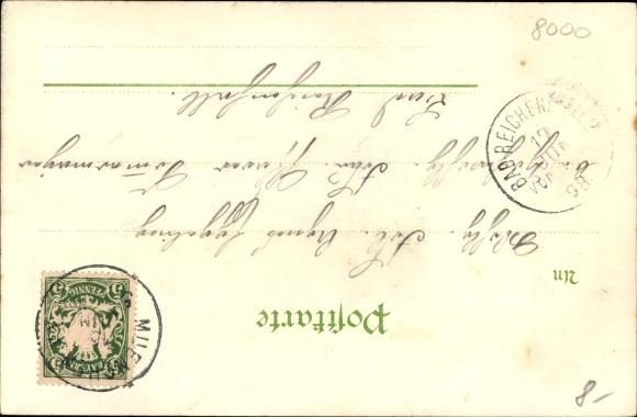 Litho München, II. Kraft und Arbeitsmaschinen Ausstellung 1898, Hauptportal 1