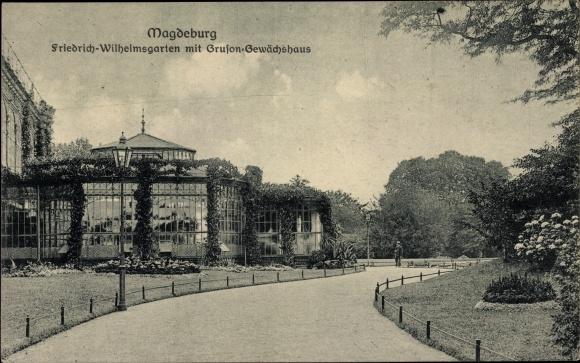 Ak Magdeburg an der Elbe, Friedrich Wilhelms Garten, Gruson Gewächshaus 0