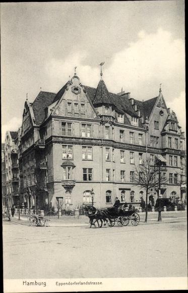 Ak Hamburg, Eppendorfer Landstraße, Wohnhaus, Kutsche 0