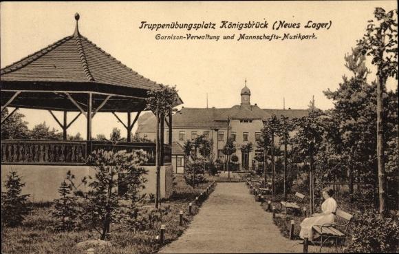 Ak Königsbrück in der Oberlausitz, Garnison Verwaltung, Mannschafts-Musikpark, Truppenübungsplatz 0