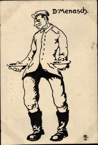 Künstler Ak D'Menasch, Soldat mit Schüsseln