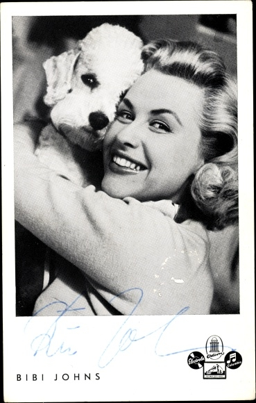 Ak Sängerin Bibi Johns, Portrait, Autogramm, Pudel 0