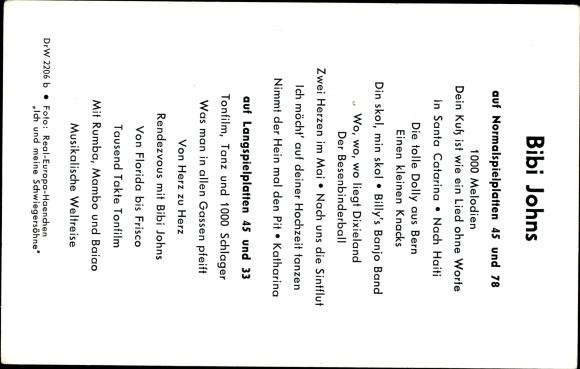 Ak Sängerin Bibi Johns, Portrait, Autogramm, Pudel 1