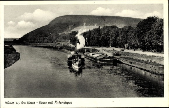 Ak Höxter, Weser mit Rabenklippe, Boot 0