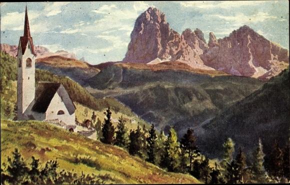 Künstler Ak St. Ulrich in Gröden Ortisei Südtirol, Kirche, Landschaftspanorama 0
