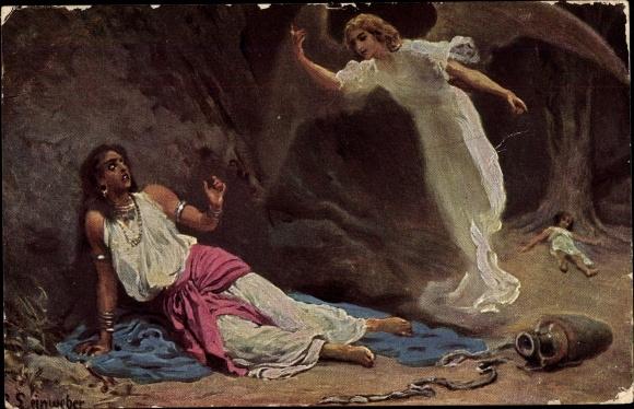 Künstler Ak Leinweber, R., Die Heilige Schrift, Serie I, Bild 7, Hagar und Ismael in der Wüste 0