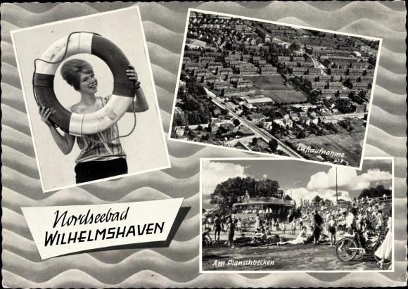 Ak Wilhelmshaven in Niedersachsen, Planschbecken, Luftaufnahme, Urlauberin 0
