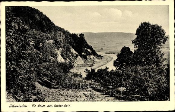 Ak Holzminden in Niedersachsen, Weser, Kiekenstein 0