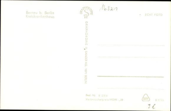 Ak Bernau bei Berlin, Kreiskrankenhaus 1