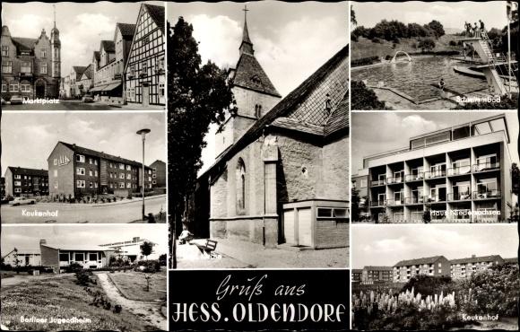 Ak Hessisch Oldendorf an der Weser, Keukenhof, Berliner Jugendheim, Kirche, Schwimmbad 0