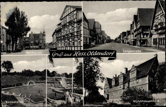 Ak Hessisch Oldendorf an der Weser, Bad, Münchhausenhaus, Langestraße, Marktplatz 0