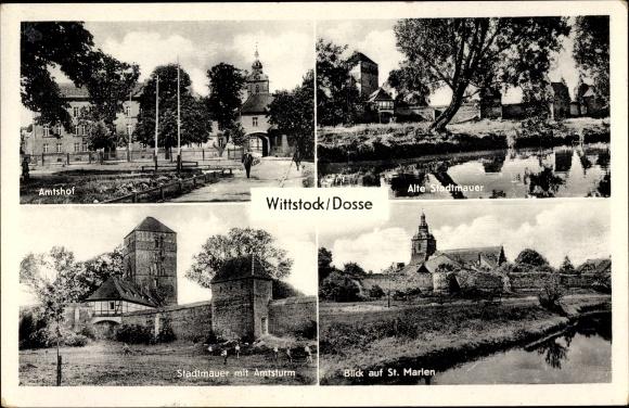 Ak Wittstock Dosse in der Ostprignitz, Amtshof, Stadtmauer, Amtsturm, St. Marien 0