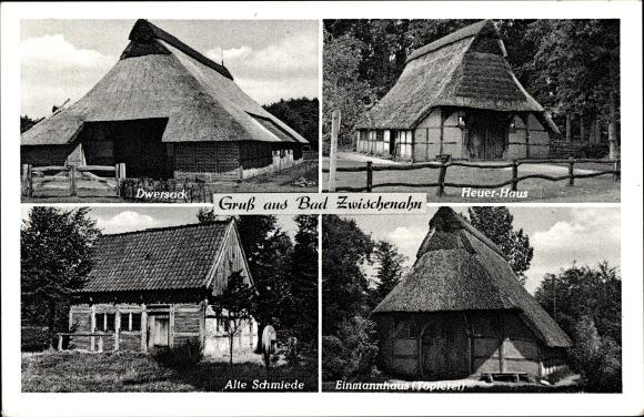 Ak Bad Zwischenahn in Niedersachsen, Dwersack, Heuer Haus, Alte Schmiede, Einmannshaus, Töpferei 0