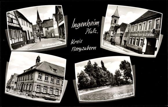 Ak Ingenheim Kreis Bergzabern Pfalz, Straßenpartie, Rathaus, Schwimmbad 0