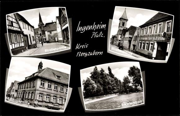 Ak Ingenheim Kreis Bergzabern Rheinland Pfalz, Straßenpartie, Rathaus, Schwimmbad