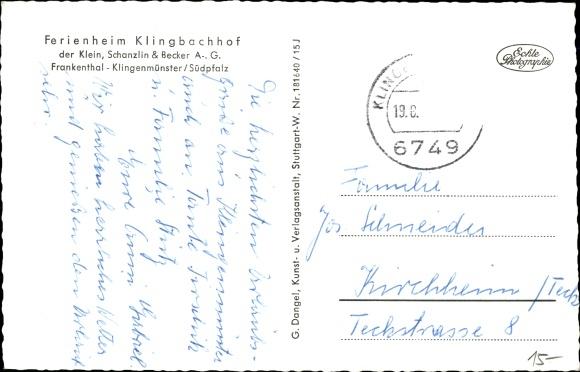 Ak Klingenmünster Rheinland Pfalz, Ferienheim Klingbachhof 1