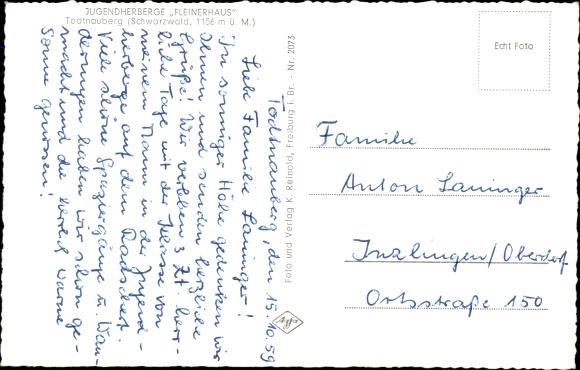 Ak Todtnau im Südschwarzwald, Jugendherberge Fleinerhaus 1