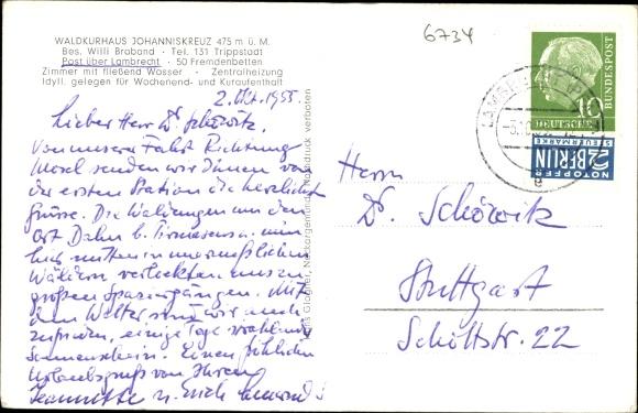 Ak Johanniskreuz Trippstadt Pfalz, Waldkurhaus, Fliegeraufnahme 1