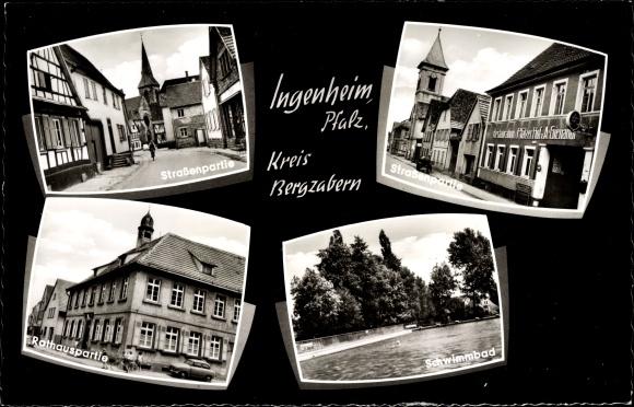 Ak Ingenheim Pfalz, Straßenpartie, Rathaus, Schwimmbad 0