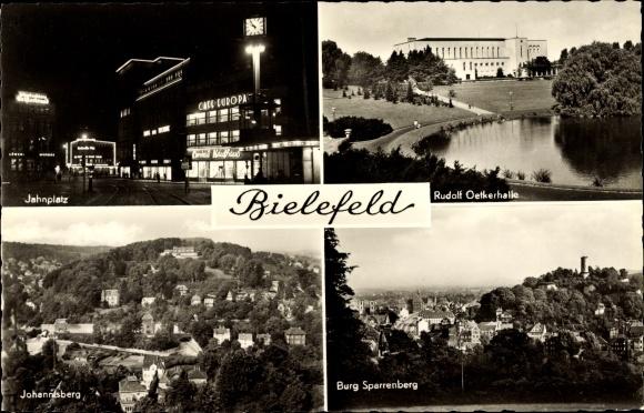 Ak Bielefeld in Nordrhein Westfalen, Jahnplatz, Rudolf Oetker Halle, Burg Sparrenberg, Johannisberg 0