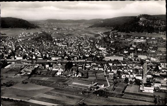 Ak Ebingen Albstadt im Zollernalbkreis, Fliegeraufnahme vom Ort 0