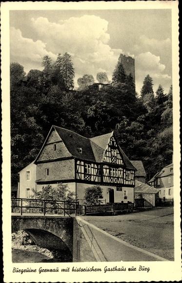 Ak Grenzau Höhr Grenzhausen im Westerwaldkreis, Burgruine mit Gasthaus zur Burg 0