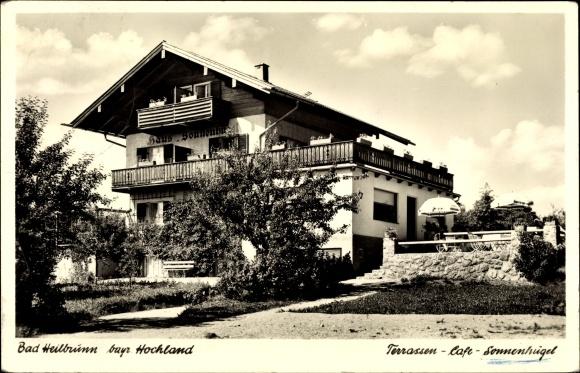 Ak Bad Heilbrunn in Oberbayern, Konditorei Cafe Sonnenhügel, Besitzer K. und M. Schmidt 0
