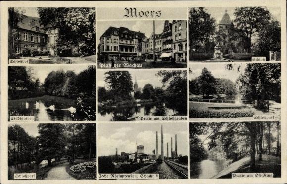 Ak Moers, Platz der Wachau, Schloß, Zeche Rheinpreußen 0