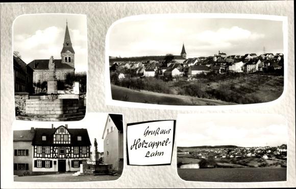 Ak Holzappel Lahn, Kirche, Fachwerkhaus, Totale 0