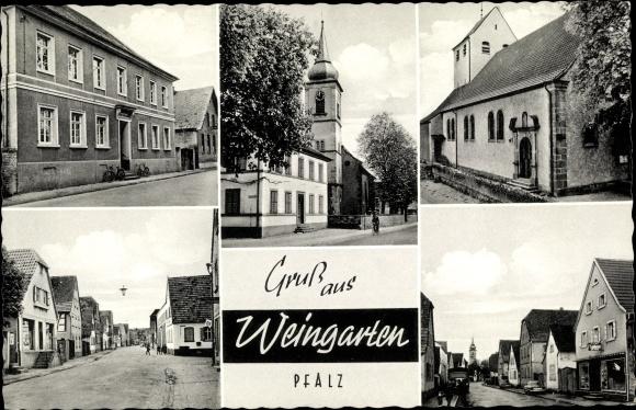 Ak Weingarten Pfalz, Straßenansichten, Kirchpartie 0