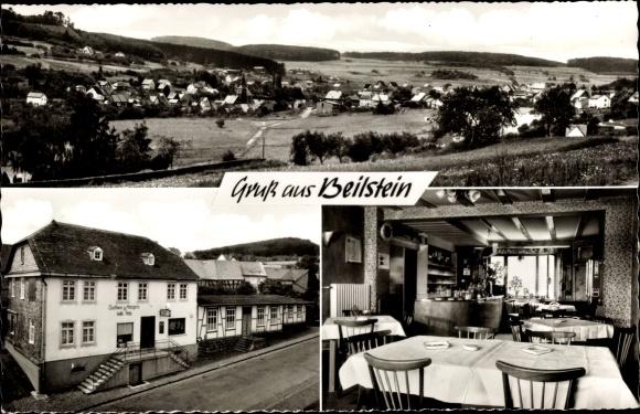 Ak Beilstein Greifenstein Hessen, Panorama, Gasthof und Metzgerei 0