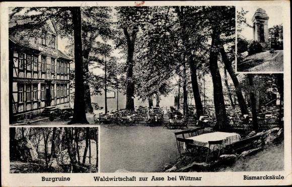 Ak Wittmar Niedersachsen, Gasthaus zur Asse, Burgruine, Bismarcksäule 0