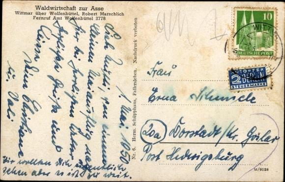 Ak Wittmar Niedersachsen, Gasthaus zur Asse, Burgruine, Bismarcksäule 1