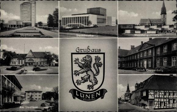 Wappen Ak Lünen in Nordrhein Westfalen, Stadthaus, Mädchengymnasium, Bahnhof, Stadttheater, Bad
