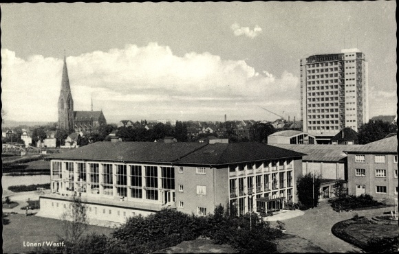 Ak Lünen in Nordrhein Westfalen, Rathaus und Marienkirche