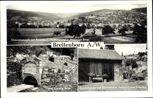 Ak Breitenborn Gründau Main Kinzig Kreis, Gesamtansicht, Leichenhalle mit Ehrenmal 0