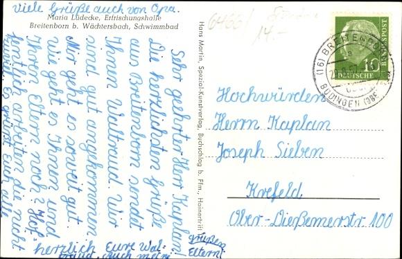 Ak Breitenborn Gründau Main Kinzig Kreis, Gesamtansicht, Leichenhalle mit Ehrenmal 1