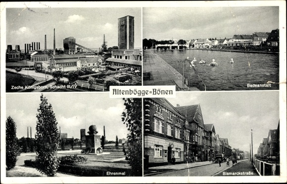 Ak Altenbögge Bönen Westfalen, Zeche Königsborn Schacht III/IV, Ehrenmal, Bad 0