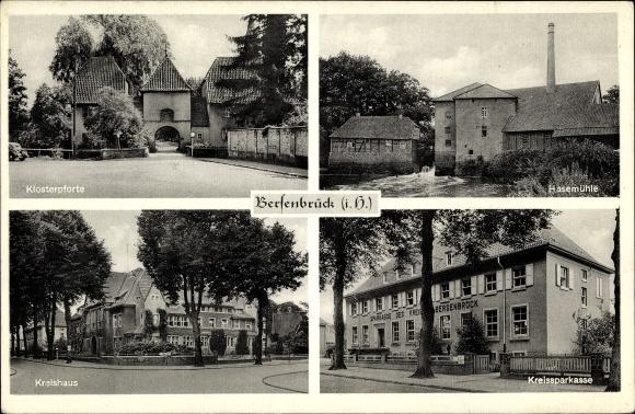 Ak Bersenbrück in Niedersachsen, Klosterpforte, Kreishaus, Kreissparkasse, Hasemühle 0