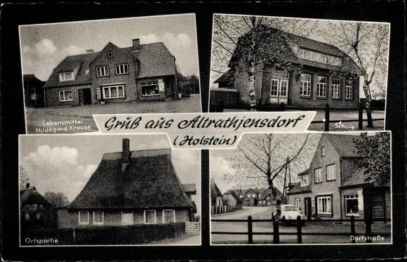 Ak Altratjensdorf Riepsdorf in Ostholstein, Geschäft H. Krause, Schule, Dorfstraße 0