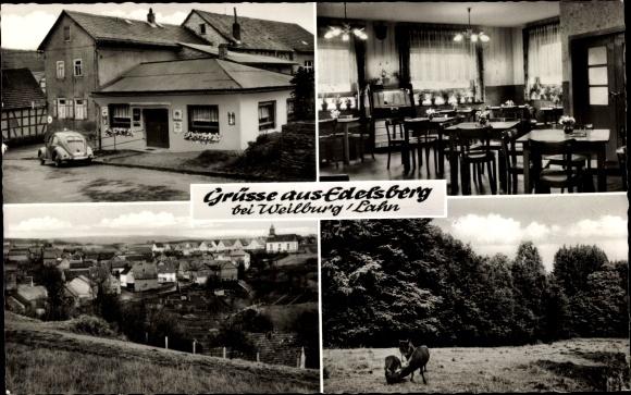 Ak Edelsberg Weinbach Mittelhessen, Gasthof, Inneres, Totale 0