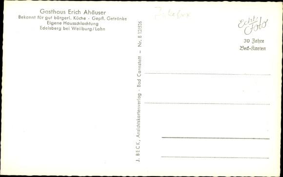 Ak Edelsberg Weinbach Mittelhessen, Gasthof, Inneres, Totale 1